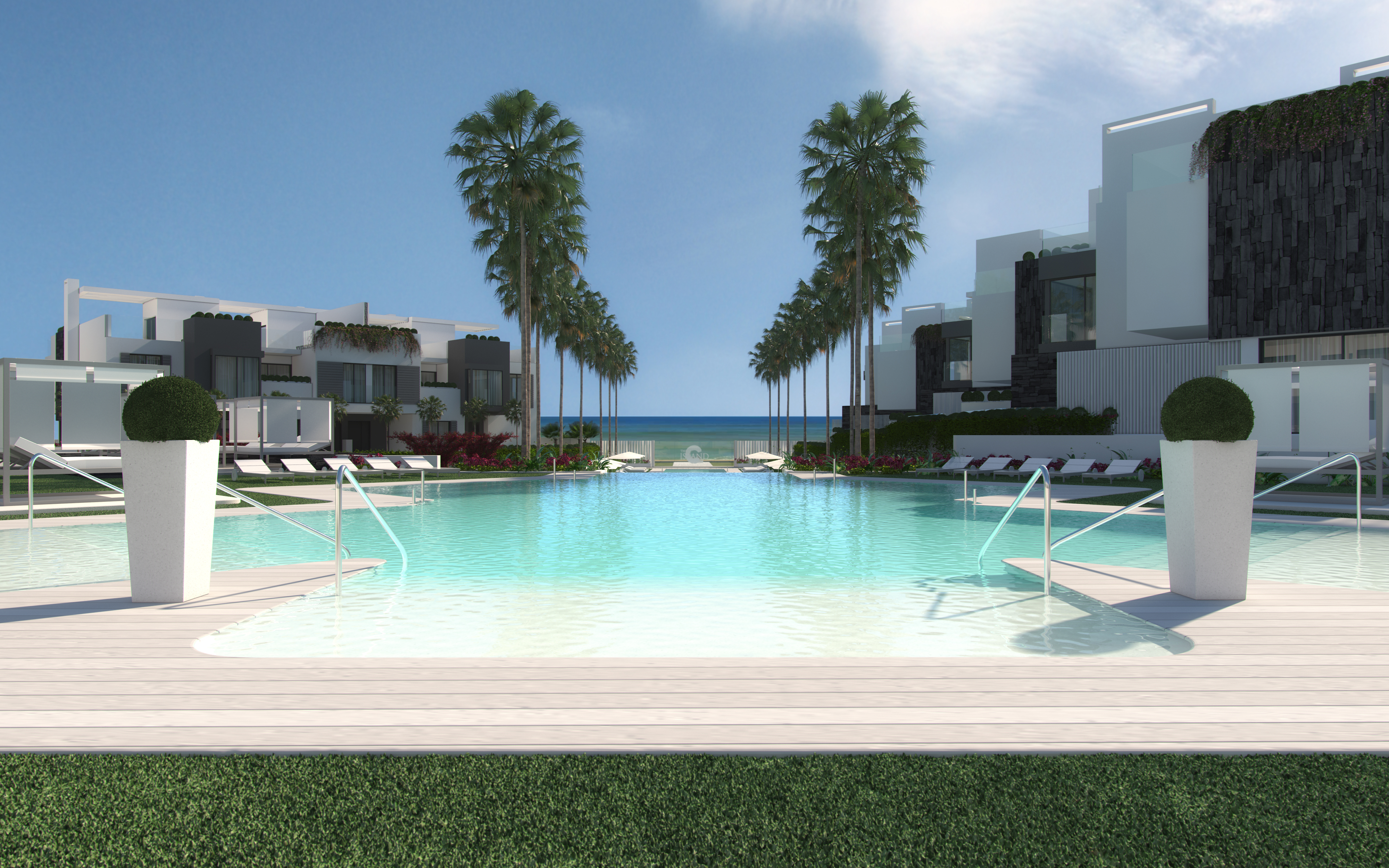 Innovative front line beach Project – exclusively-designed luxury 3,4,5 bedrooms townhouses,